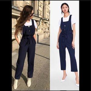 Zara Navy Belted Jumpsuit 2539/559 sz XL